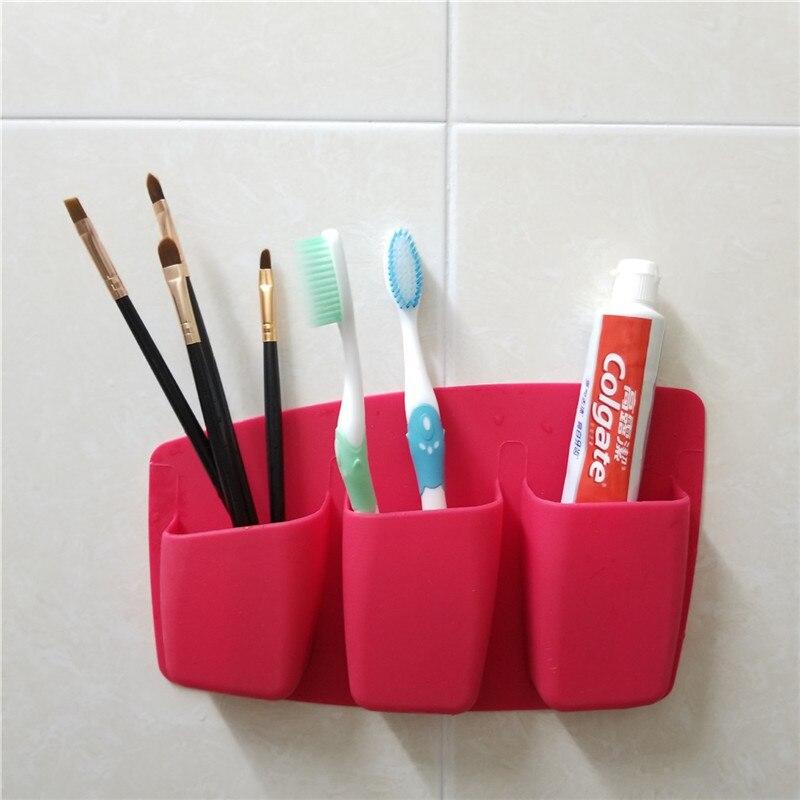 3 решетки косметическая коробка для хранения кистей для макияжа на присоске, Многофункциональный косметический держатель