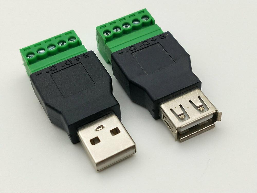 USB 2,0 Тип A штекер/гнездо к 5P винт w/щит клеммы разъем
