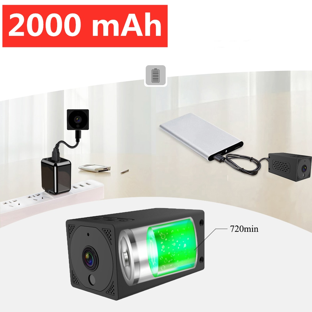 2000 mAh wifi Mini Camera 1080P 2MP Night Vision Action Camera  Wireless IP Remote Built-in Battery go pro Cam Baby Monitor