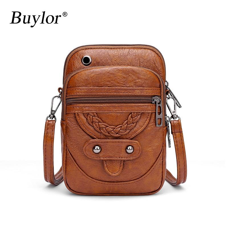 Buylor Women Crossbody Bag High Quality PU Leather Mini Shoulder Bags Female  Messenger Bags Vintage Handbag Phone Pocket Purse