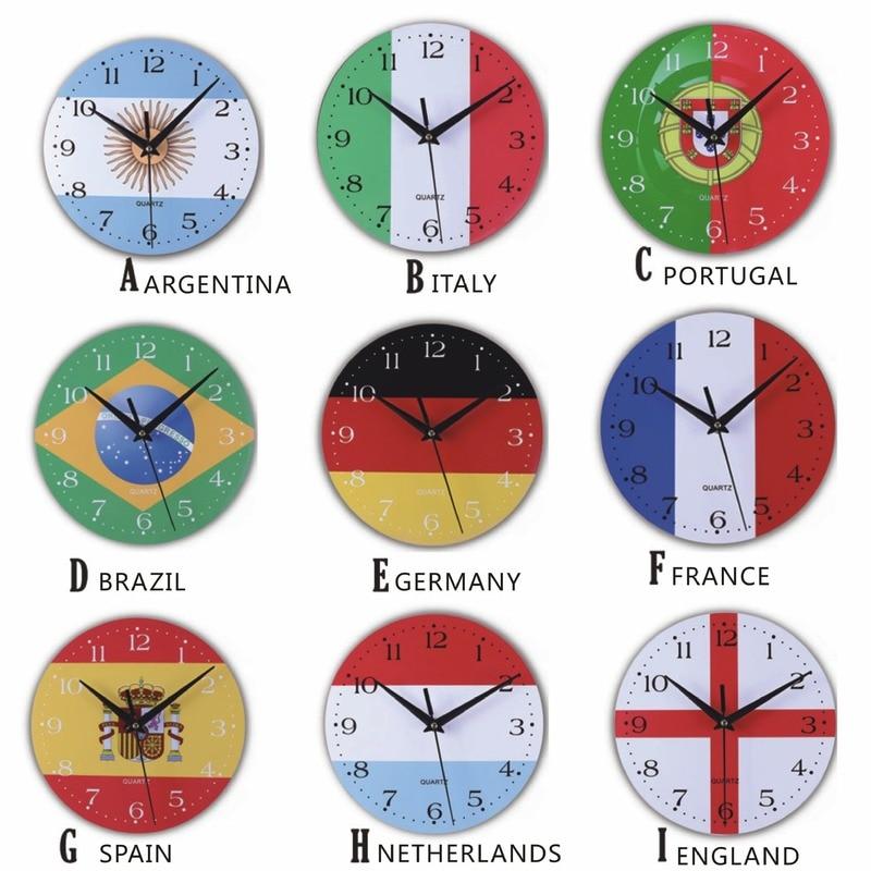 Fabricante nacional de relojes de bandera para pared reloj silencioso de madera pequeños relojes creativos de pared para sala de estar de oficina
