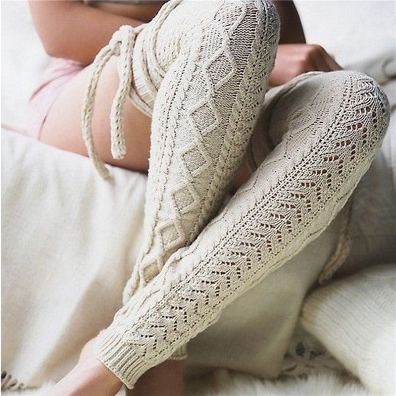 GAOKE Winter Long Warm Leg Warmers Knitting Knee High Stocking Women Boot Topper Girls Stockings 7 Colors