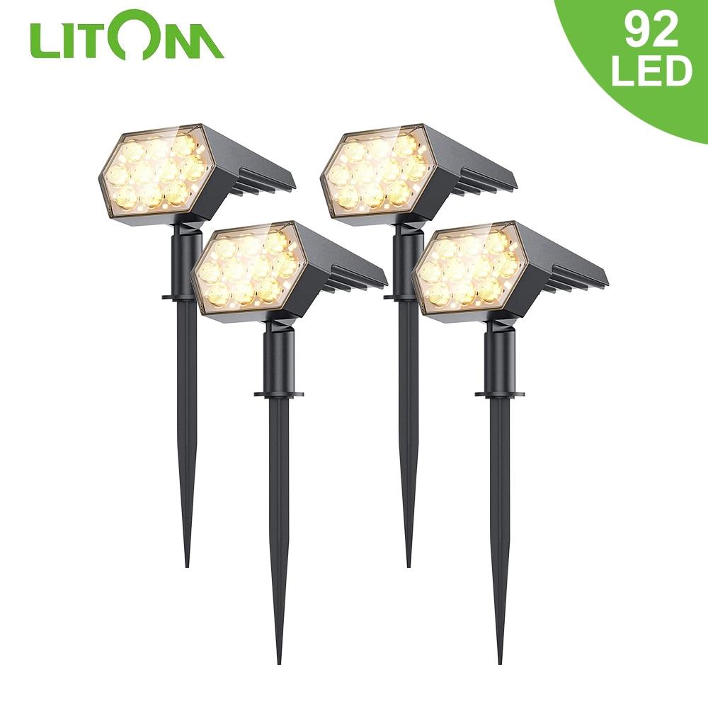 LITOM 92 LED Outdoor Solar Lights Solar Spot Lights Landscape Spotlights 3 Lighting Modes IP67 Waterproof Solar Powered Lights
