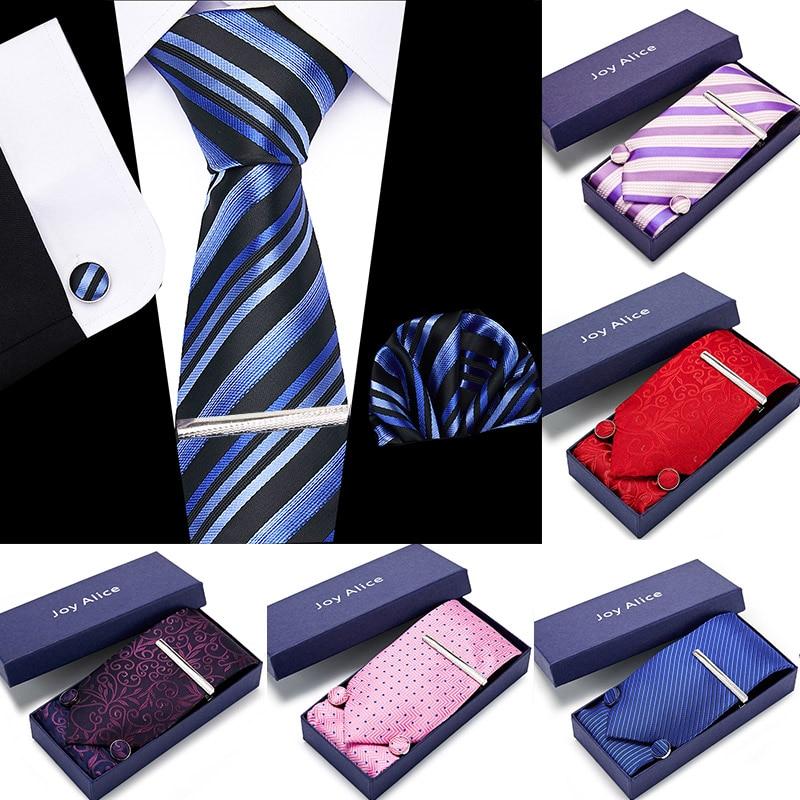 New Men ties set Extra Long Size 145cm*8cm Necktie Cuffint Handkerchief Tie Clip Set Blue Silk Jacquard Gift Box Wedding Party new white men ties set extra long size 145cm 7 5cm plaid necktie 100