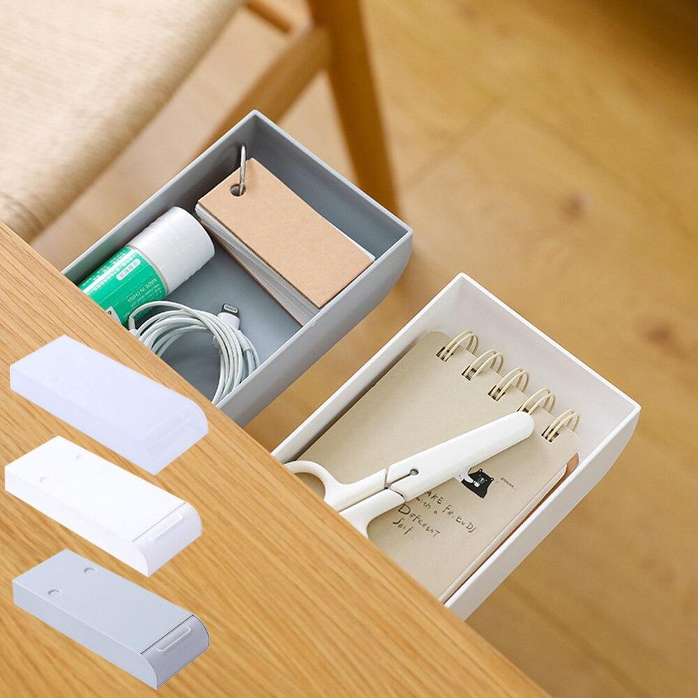 Cajón del escritorio organizador lápiz bandeja auto-adhesivo Mini bajo escritorio cajón escondido soporte de almacenamiento de artículos varios lápiz bandeja sostenedor de la pluma