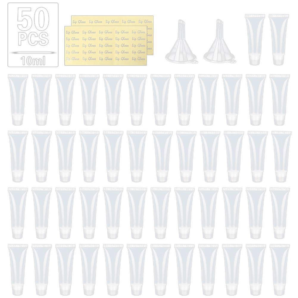 50 pces 10ml vazio batom tubo lábio bálsamo maquiagem macia espremer sub-engarrafamento viagens claro plástico labial gloss bálsamo recipiente garrafas