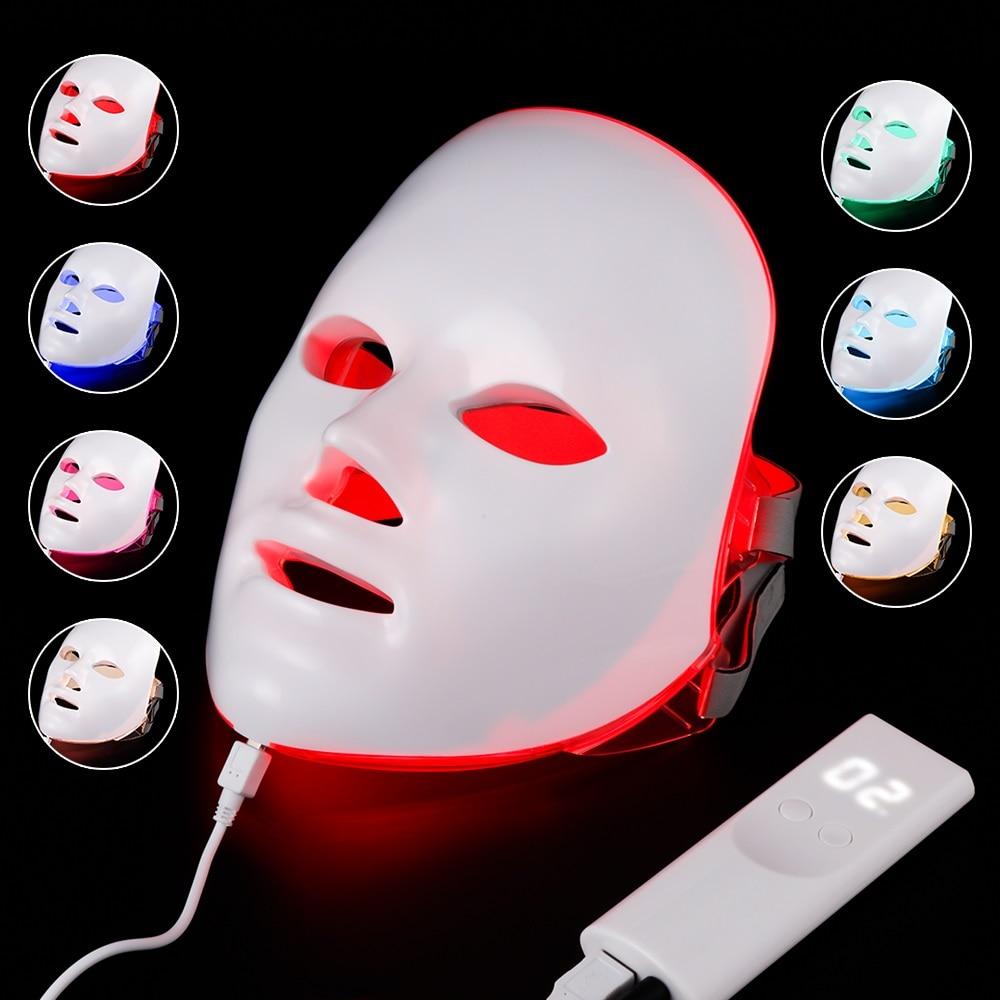 7 Colors Led Mask Photon Electric LED Facial Mask LED Skin Rejuvenation Anti Wrinkle Acne Photon Therapy Home Salon Beauty Tool
