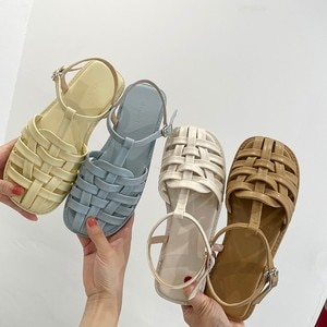 Summer 2021 New Baotou Sandals Female Flat Bottom Korean Fashion Leisure Fairy Candy Color One Line Sandals Soft and Comfortable