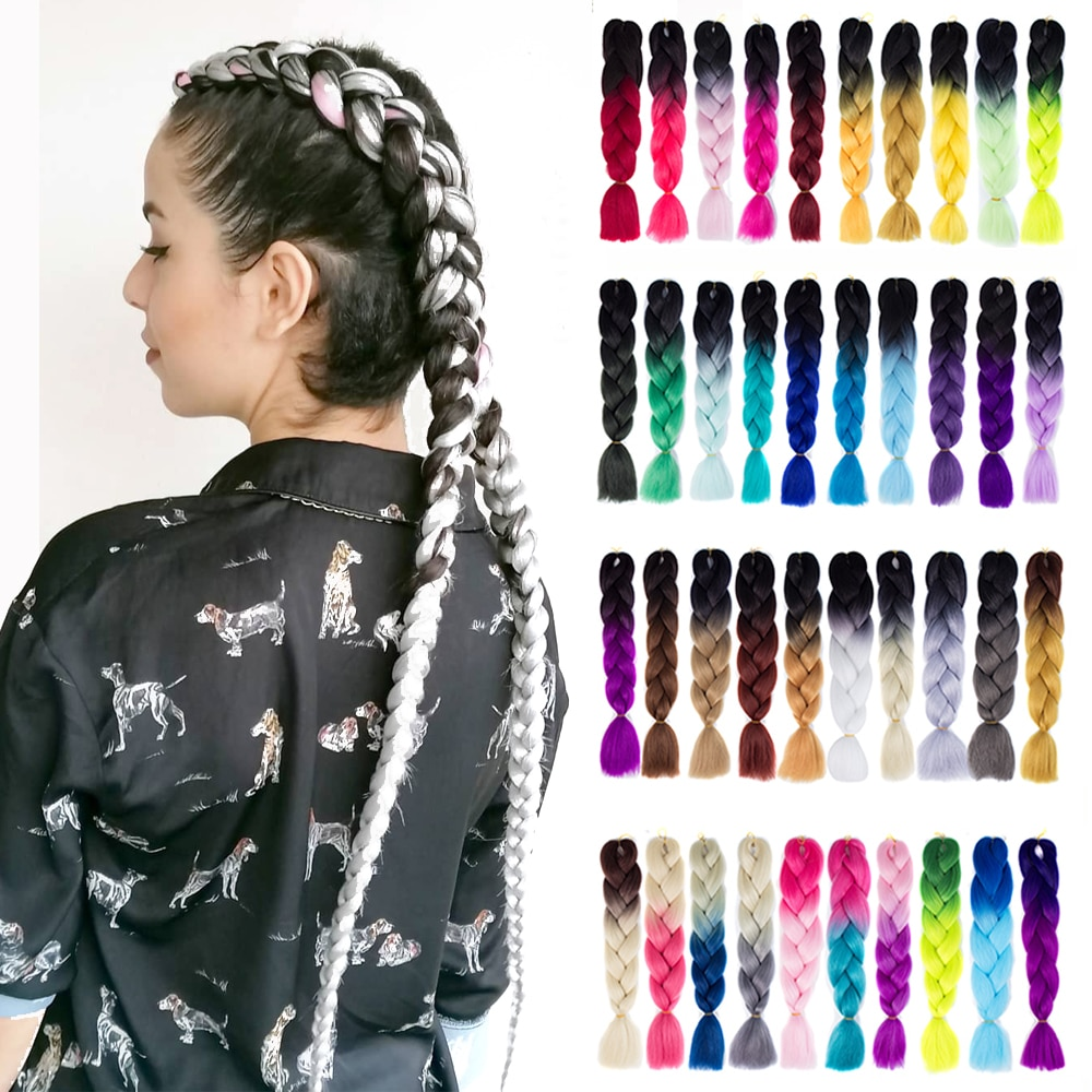 Synthetic hair Braids Ombre Braiding Hair Extension Box Braid Hair Pink Purple Yellow Golden Colors