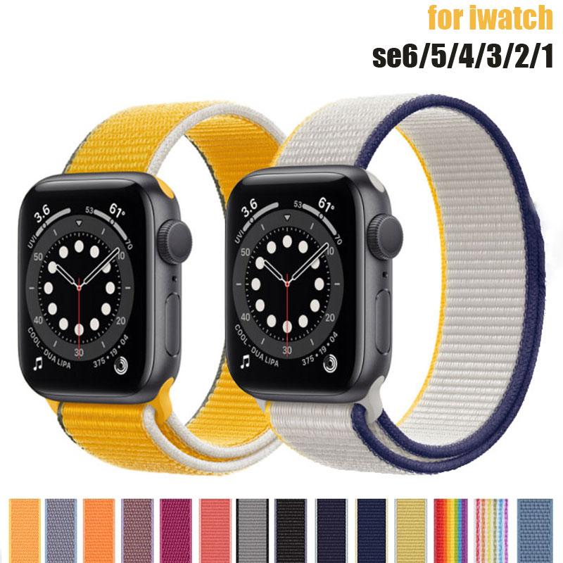 strap for apple watch 42mm 38mm sport loop iwatch band 5 44mm 40mm correa pulseira apple watch 5 3 4 band nylon watchband 3 2 1 Nylon Strap for Apple Watch 44mm 40mm 42mm 38mm Sport loop band iwatch 1 2 3 4 5 6 bracelet belt correa for apple watch SE strap