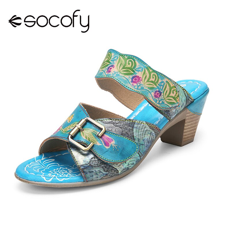 SOCOFY-صندل نسائي بنمط عتيق ، أحذية جلدية غير رسمية بدون أربطة ، مشبك خطاف ، ديكور ، كعب سميك