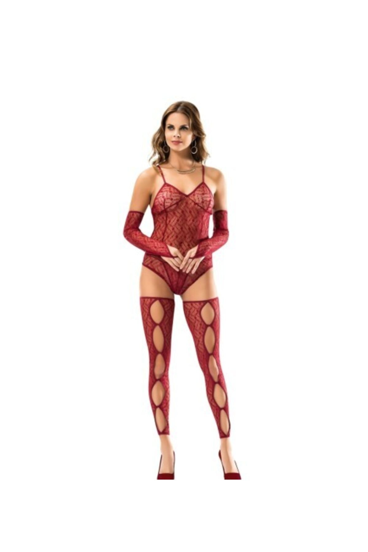 Women's Red Fancy Body Stocking Nightwear Intimate Sexy lingerie erotic lingerie women underwear Panties