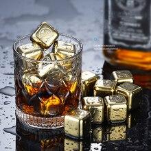 Refroidisseur de Whisky de vin dacier inoxydable pierres de Whisky dor refroidissant des glaçons refroidissant des roches seau à glace réutilisation de refroidisseur de bière de Champagne