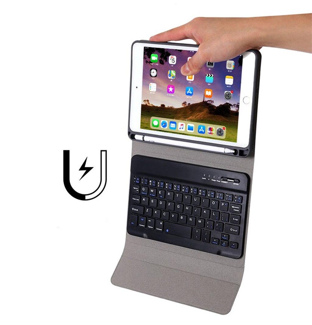 Keyboad + funda para Apple iPad 7, 10,2 pulgadas 2019, funda desmontable, funda para teclado 2 en 1, funda para tableta