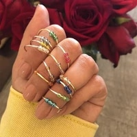 new handmade delica glass rice bead metal ring female fashion open bead rotatable decompression multilayer ring jewelry gift