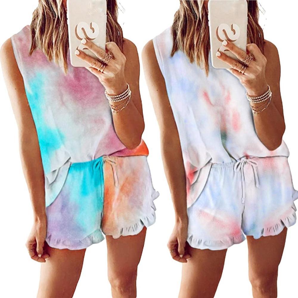 2020 New Womens Tie Dye Printed Ruffle two piece set  спортивные костюмы жен Set Loungewear Nightwear Sleepwear костюм zbza одеж