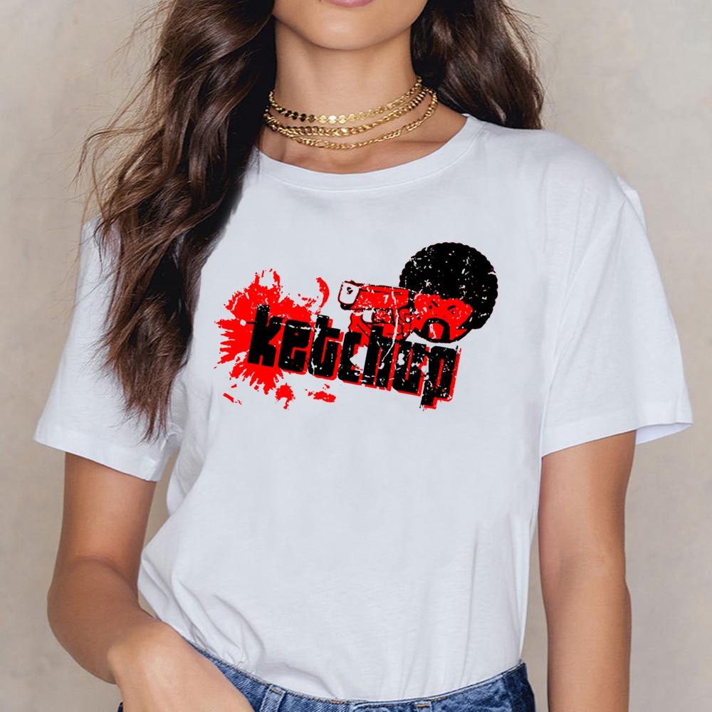 Camisetas para mujer Pulp Fiction Quentin Tarantino Ketchup básica negra camiseta femenina