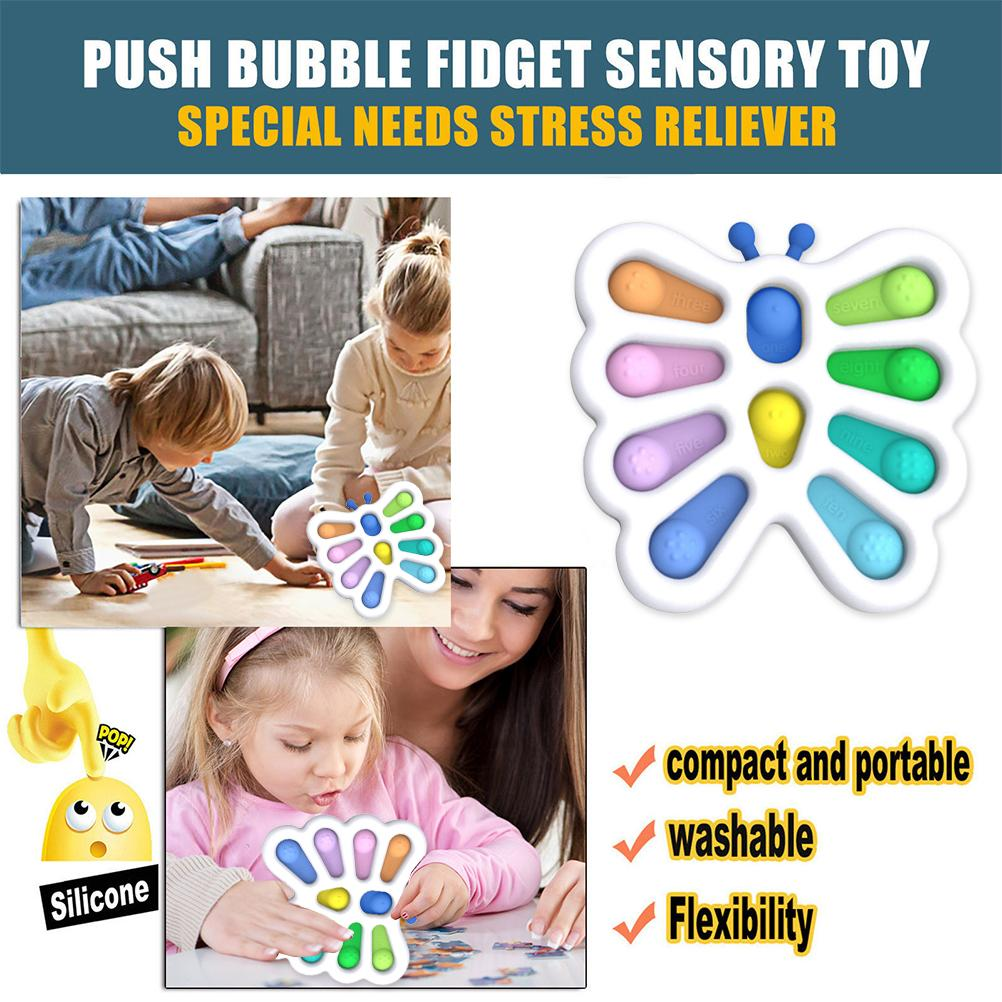 Baby Sensory Toys Butterfly Fidget Dimple Silicone Stress Relief Early Educational Toys For Children enlarge
