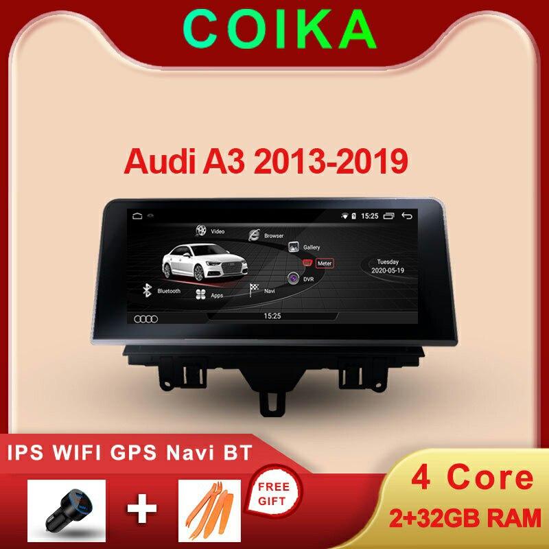 Pantalla táctil IPS estéreo para Audi A3 2013-2020 Android 10 sistema 2 + 32GB de RAM WIFI GPS Navi Google AUX reproductor Multimedia