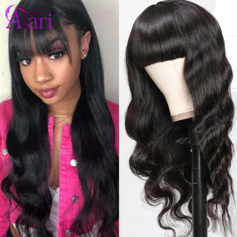 Body Wave Wigs with Bangs 100% Virgin Human Hair Wigs for Black Women Whole Sale Cheap Machine Made Wigs Peruvian Hair Wigs