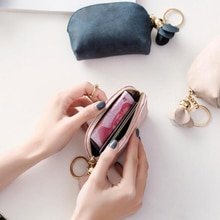 Fashion PU Leather Mini Wallet Card Key Holder  Zipper Coin Purse Tassel Flower Clutch Bag Small Han