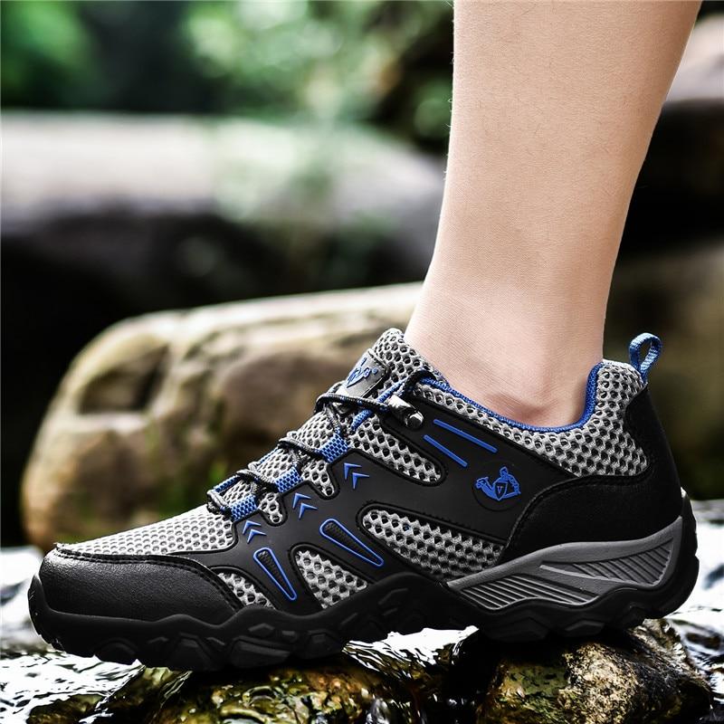 Verano Zapatos de montaña para hombre al aire libre senderismo Trekking zapatos antideslizante escalada en roca zapatillas de deporte Hombre arriba de rastro de calzado