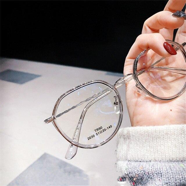 -1.0 -1.5 -2.0 -2.5 -3.0 to -6.0 Women Men Fashion Round Myopia Glasses Oversized Eyeglasses Frames Students Metal Clear Glasses 2
