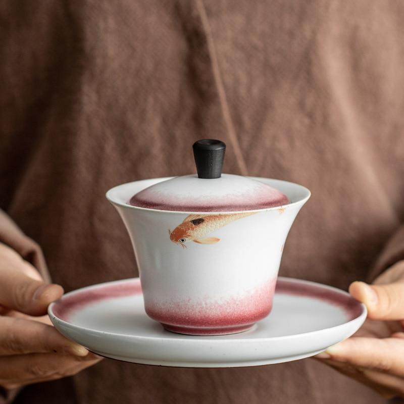 LUWU-طقم شاي صيني على شكل سمكة gaiwan ، سيراميك ، 130 مللي