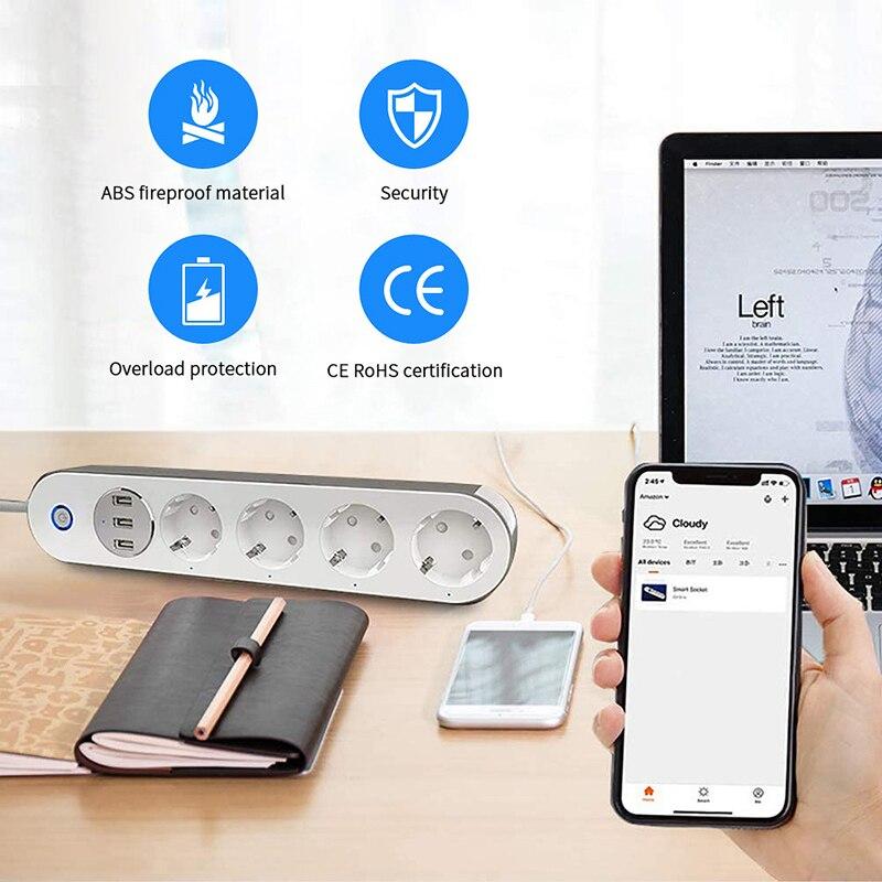 Multiprise intelligente Wifi, 4 prises ue, avec 3 ports de charge USB, application de synchronisation, commande vocale, fonctionne avec Alexa Google Home Assistant