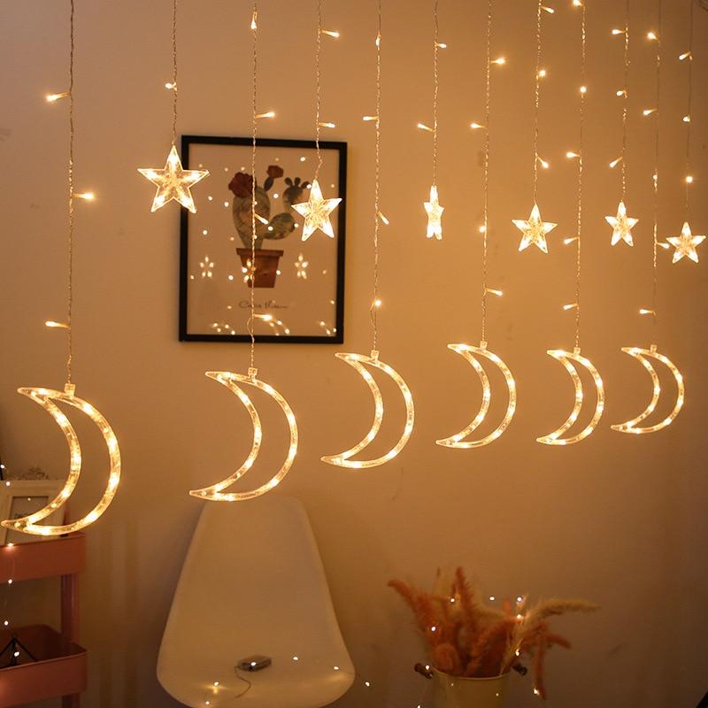 Tira de luces LED Star moon, cortina de luces a prueba de agua, guirnalda de emisión de hielo, decoración, Ramadán, Eid, mubarak, para habitación, hada