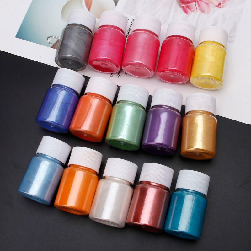 Polvo de Mica en 15 colores resina epoxi tinte perla pigmento Mica Mineral Natural en polvo C63B