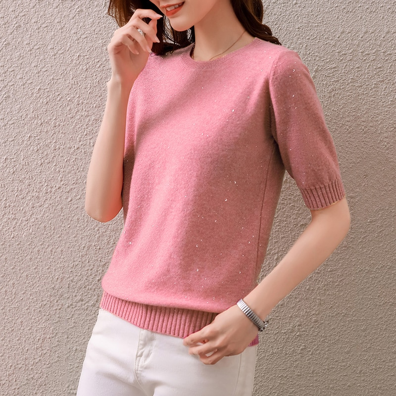100% Merino Wool Knitted Jumpers Woman O-Neck Half-Sleeve 3Colors Pullovers Hot Sale Soft Warm Ladies Knitwear enlarge