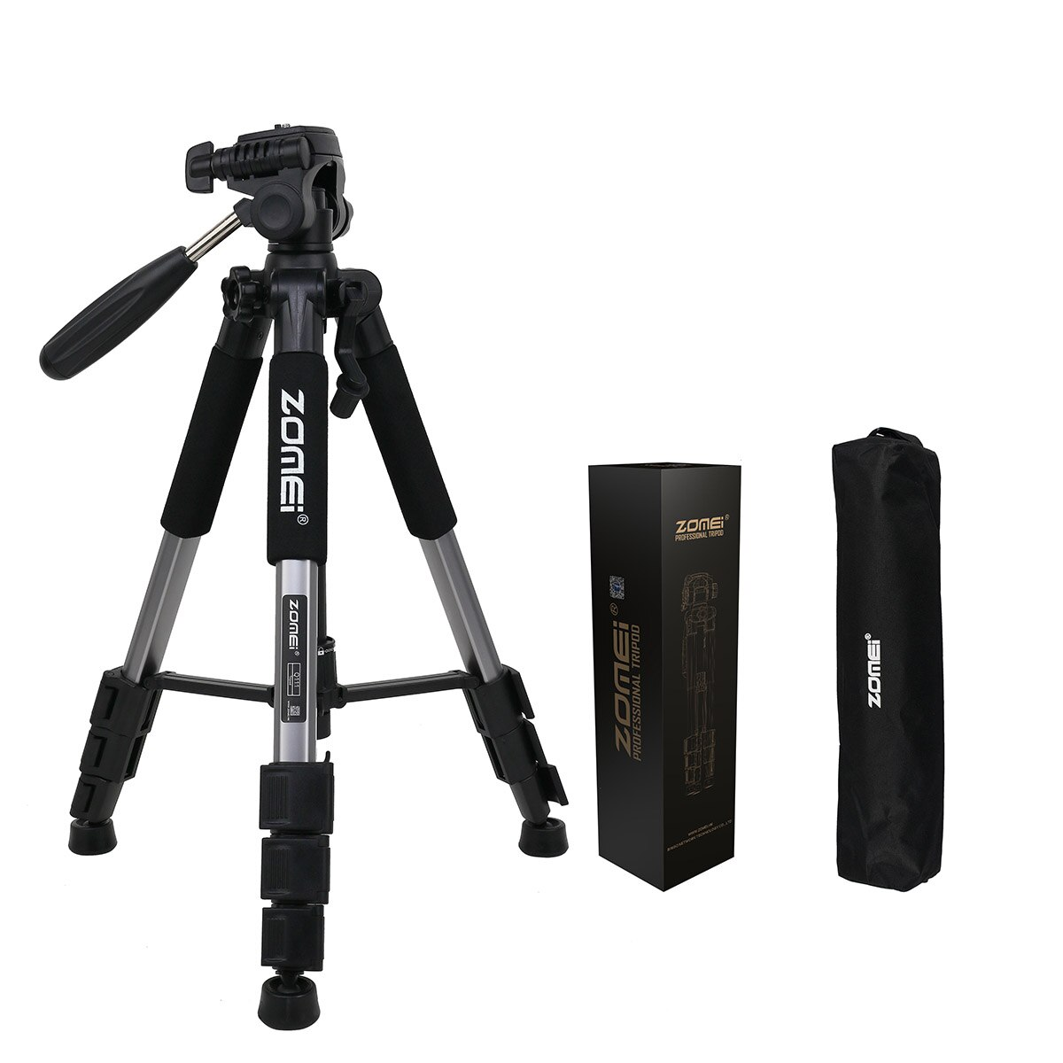 ZOMEI Q111, Trípode de cámara de aluminio de viaje portátil profesional de alta calidad y cabezal Pan para cámara Digital SLR DSLR en tres colores