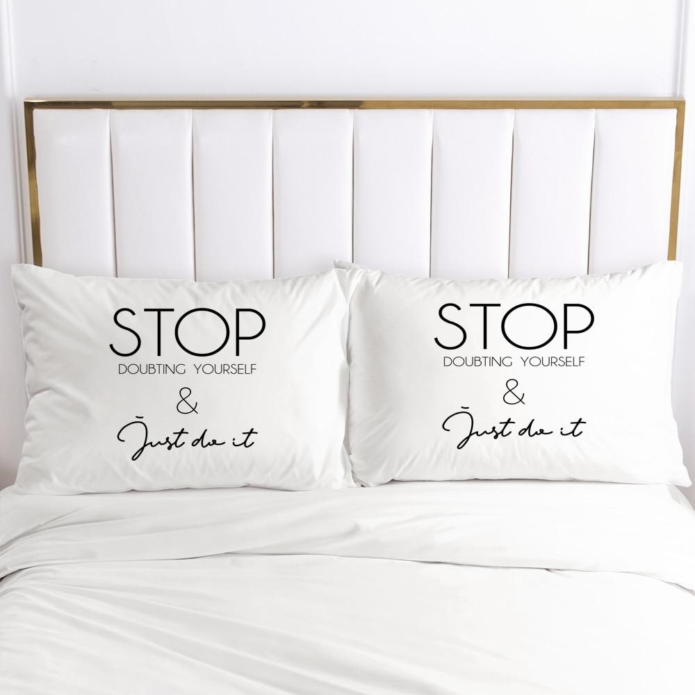 2PCS 3D Pillow Cases 60x70 80x80 Nordic Decoration Throw Pillow Cover Bedding White Letter PillowCase Customize size/design