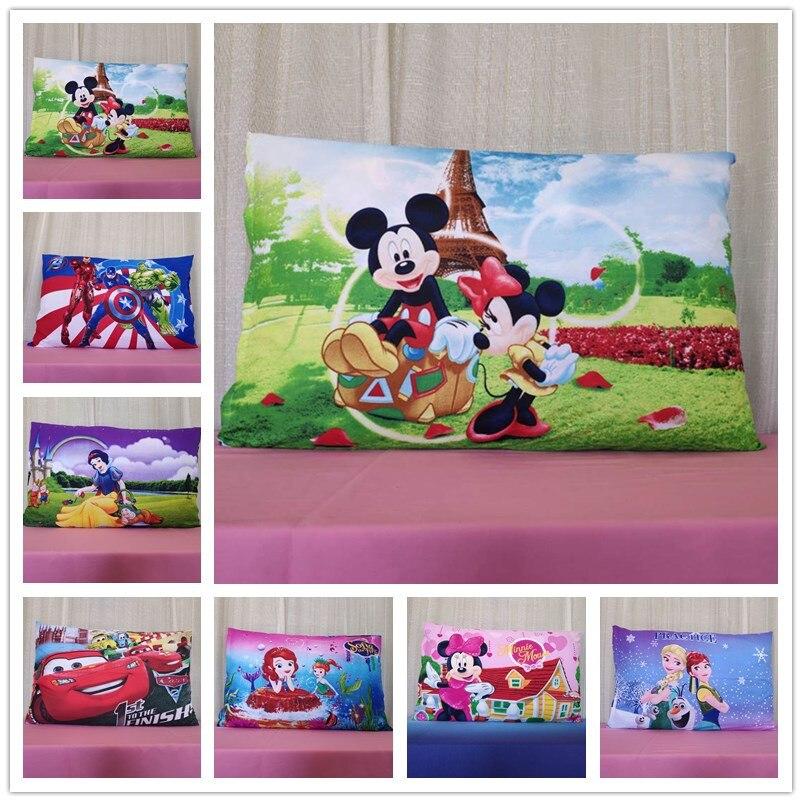 Funda de almohada de ratón de Mickey y Minnie de Disney para dormitorio infantil, funda de almohada, decoración para cama de niña, hogar de niños, 1 pieza 3D