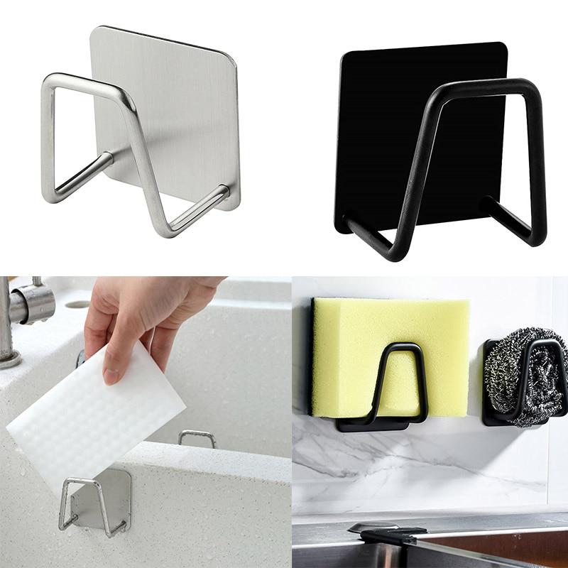 Kitchen Stainless Steel Sponges Holder Silver/black Self Adhesive Sink Sponges Drain Drying Rack Kitchen Sink storage Organizers