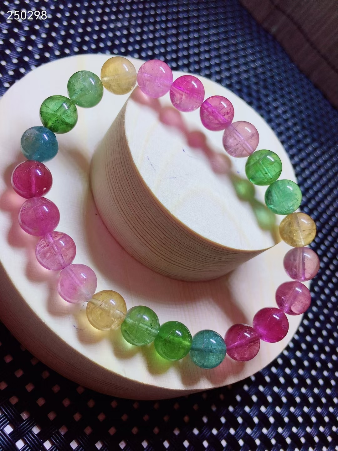 8mm Natural Colorful Tourmaline Crystal Bracelet Clear Round Beads Women Crystal Jewelry Candy Tourmaline AAAAAAA