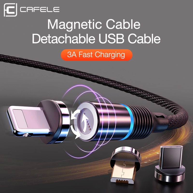 Cafele qc3.0 led cabo usb magnético para iphone usb tipo c micro cabo 3a cabos de carregamento rápido para huawei samsung xiaomi oneplus