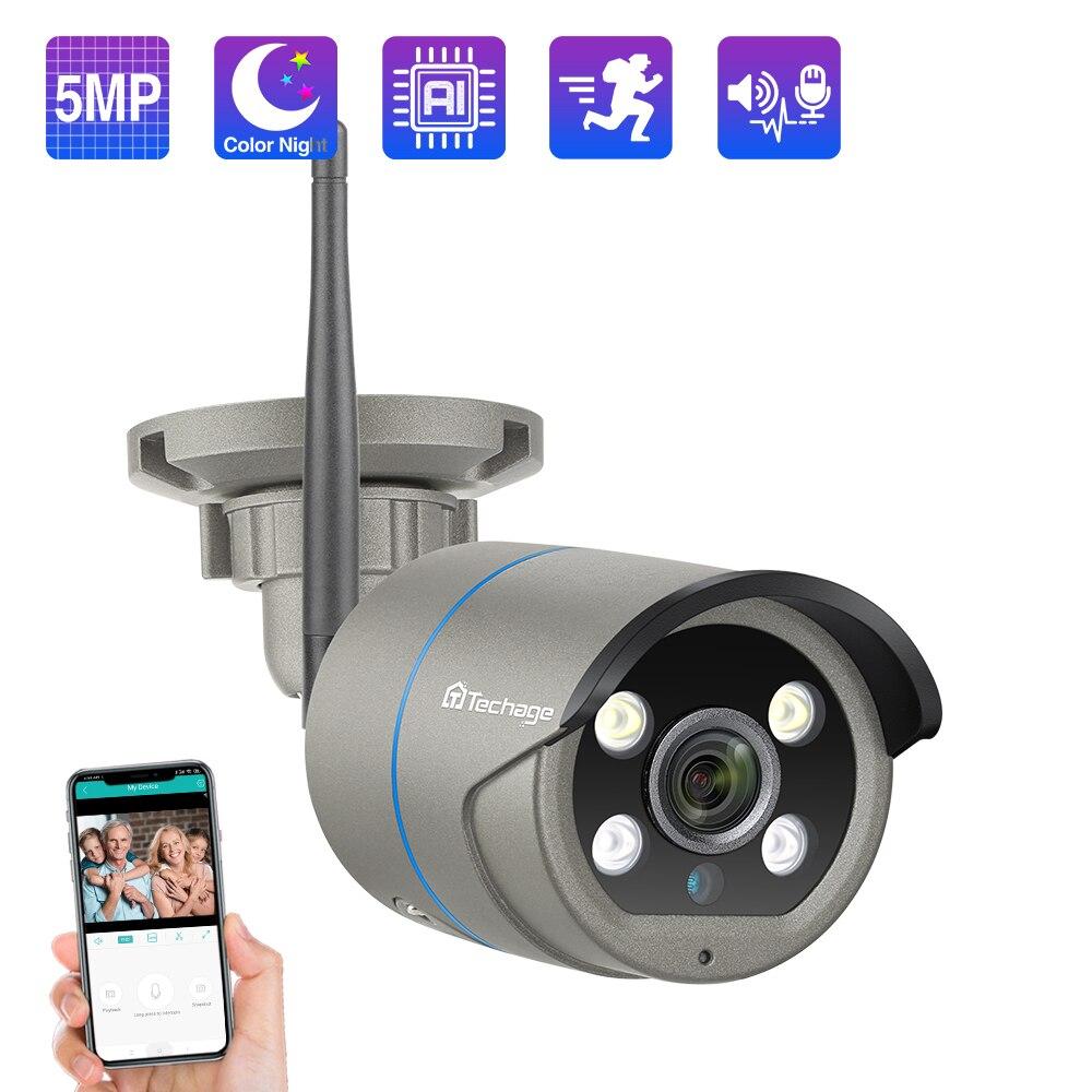 Techage 2MP/5MP واي فاي كاميرا الأمن في الهواء الطلق كاميرا لا سلكية اتجاهين الصوت AI الإنسان الكشف عن كامل اللون للرؤية الليلية TF بطاقة P2P
