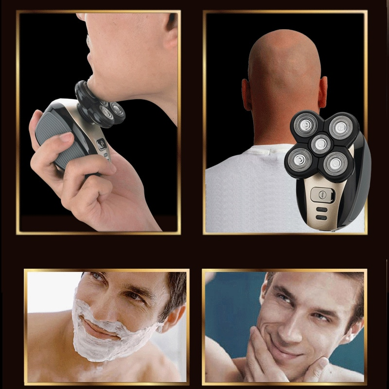 5 in 1 Rechargeable Electric Shaver Five Floating Heads Razors Hair Clipper Nose Ear Hair Trimmer Men Facial Cleaning Brush enlarge