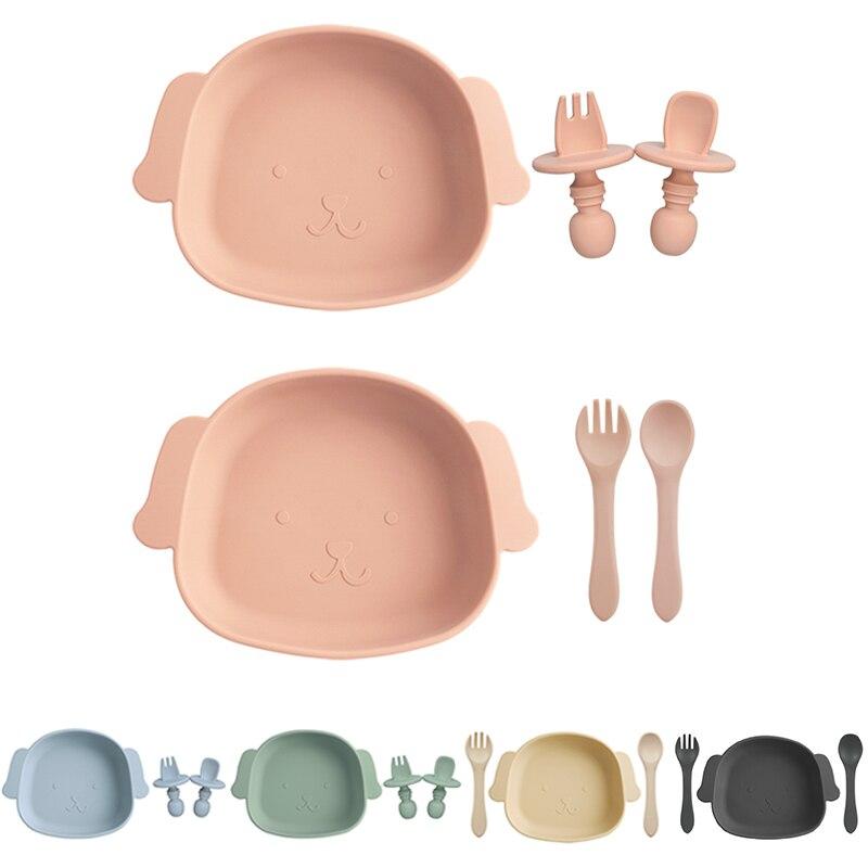1 комплект детской одежды детская посуда детская столовая посуда силиконовые присоски + столовая ложка, вилка, BPA бесплатные силиконовые лож...