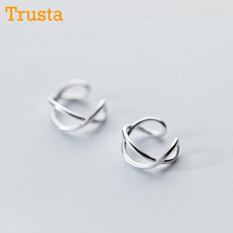 Trusta 100% Plata de Ley 925, pendientes de tuerca con Clip para mujer y Chica, sin pendientes para Piercing, joyería DS475