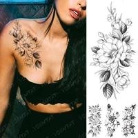 waterproof temporary tattoo sticker peony flower plum blossom flash tattoos female black minimalist line body art fake tatto