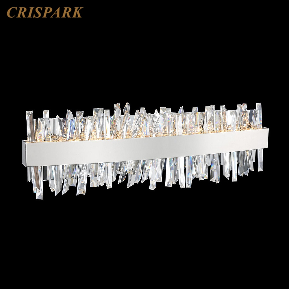 Candelabro de Cristal LED moderno, lámpara de pared del dormitorio cromada, Prisma...