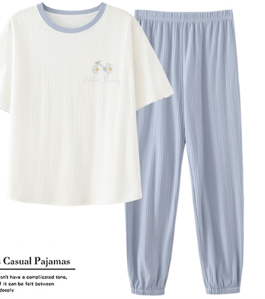 Cotton Pajamas Women's Summer Short Sleeve Trousers Two-piece Set Summer Thin Women's Round Neck Hom