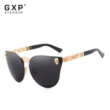 GXP Luxury Brand Fashion Women Gothic Mirror Eyewear Skull Frame Metal Temple Oculos de sol UV400 Wi