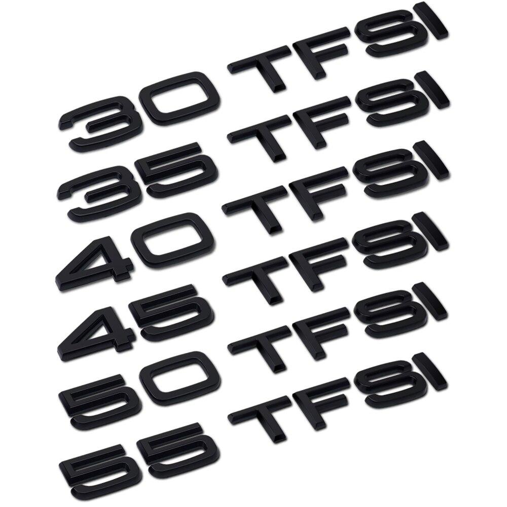 Para Audi A3 A4 A5 A6 A7 A8 C5 C6 C7 C8 B4 B5 B6 B7 B8 B9 Q4 Q5 Q6 Q7 Q8 para equipaje trasero tronco 55 50 45 40 35 30 TFSI etiqueta engomada del logotipo