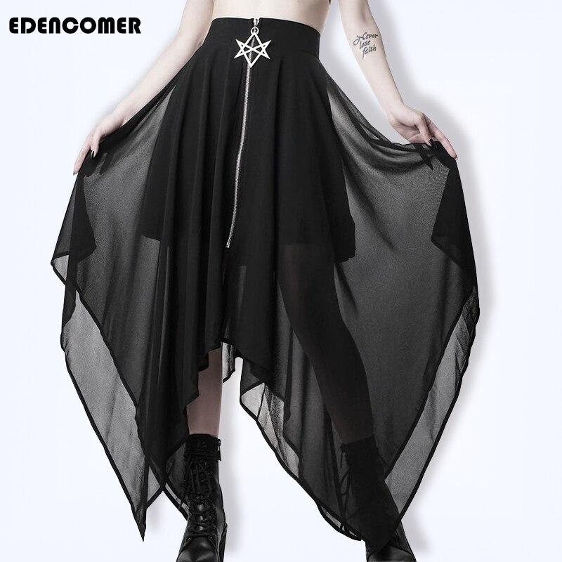 Black Irregular Half-length Skirt Female Zipper Mid-long Summer 2019 New Korean Autumn Skirts Lace Polyester Solid