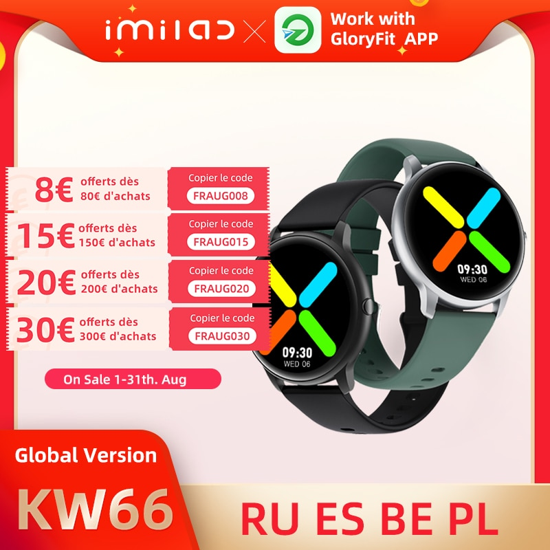 IMILAB KW66 ساعة ذكية الرجال النساء بلوتوث 5.0 سوار ذكي الرياضة جهاز تعقب للياقة البدنية ساعة معدل ضربات القلب IP68 مقاوم للماء SmartWatc