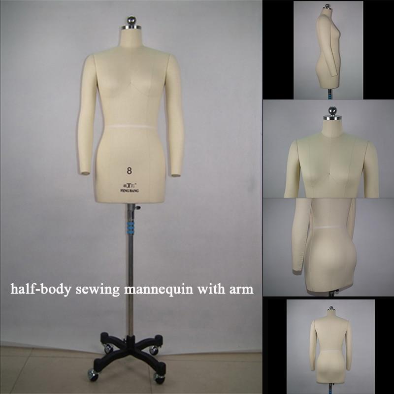 الاتحاد الأوروبي والولايات المتحدة حجم المعايير المهنية مستوى الخياطة عارضة أزياء إدراج إبرة نصف الجسم امرأة اللباس نموذج مع الأسلحة